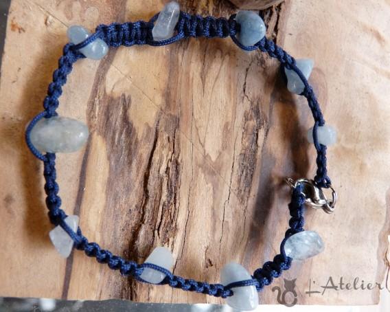 bracelet macramé aiguemarine