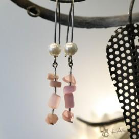 Bijoux de L'Atelier Boucles d' oreilles quartz rose