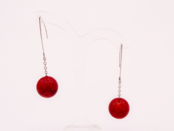 Boucles d' oreilles pendantes corail rouge