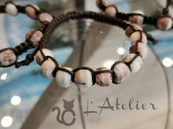 bracelet macramé bois de genévrier